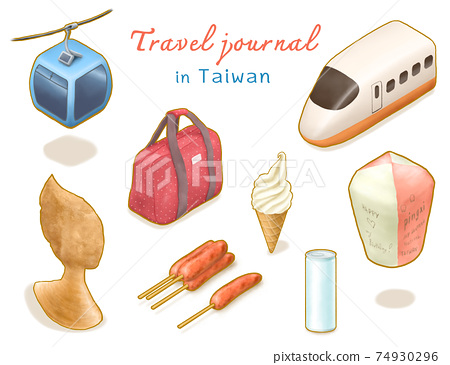 Travel Journal in Taiwan collection, digital painting of ropeway, Queen's head, high speed rail, sky lantern, ice cream, luggage bag, sausage, drink can isometric cartoon icon raster 3D illustration. 74930296