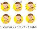 Background yellow circle 6 pose set wearing a pop apron 74931468