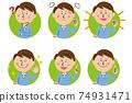 Pop male background yellow-green circle 6 pose set 74931471