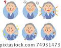 Pop senior man background light blue circle 6 pose set 74931473