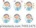 Pop senior woman background light blue circle 6 pose set 74931475
