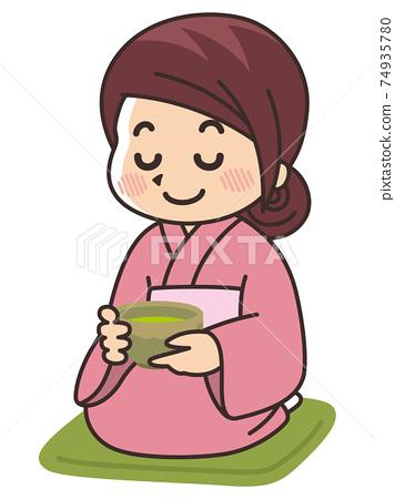 和服女人喝抹茶茶道 74935780