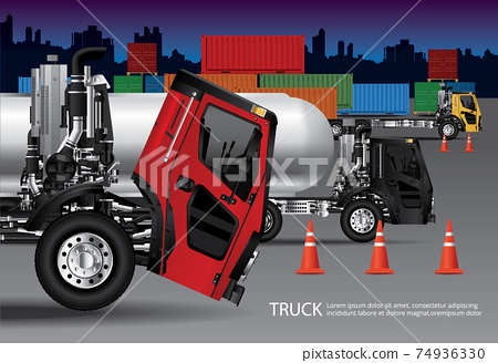 Set of Cargo Trucks Transportation with Container isolated Vector Illustration 74936330