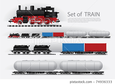 Cargo train on a rail road Vector illustration 74936333