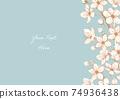벚꽃의 베이지 계열 일러스트 프레임 05 74936438