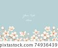 벚꽃의 베이지 계열 일러스트 프레임 04 74936439