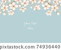 벚꽃의 베이지 계열 일러스트 프레임 03 74936440