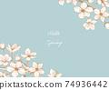 벚꽃의 베이지 계열 일러스트 프레임 01 74936442