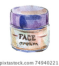 Watercolor illustration of face cream in white packaging with a blue cover 74940221