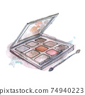 Watercolor illustration of eyeshadow in gray packaging, on background 74940223