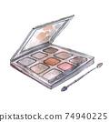 Watercolor illustration of eyeshadow in gray packaging 74940225