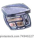 Watercolor illustration of eyeshadow in black packaging 74940227
