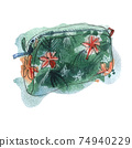 Watercolor illustration of cosmetic bag, green color with flowers, on background 74940229