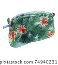 Watercolor illustration of cosmetic bag, green color with flowers 74940231