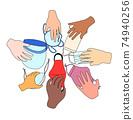 不同類型的口罩的插圖以及服用口罩的不同人的手 74940256