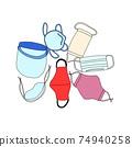 各種類型的口罩的彩色插圖 74940258