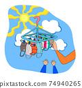 父母和孩子選擇各種口罩和在陽光明媚的日子曬乾的口罩 74940265