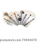Watercolor illustration of makeup brushes, on background 74940470