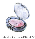 Watercolor illustration of pink blush in black packaging 74940472