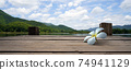 Panoramic of  White Floral drop on Wooden bridge lake with Empty wooden floor.  74941129