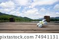 White Floral drop on Wooden bridge lake with Empty wooden floor.  74941131