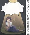 Retro girl cartoon style, money dances, tragic heroine, business casual, light-up, balloon 74942250