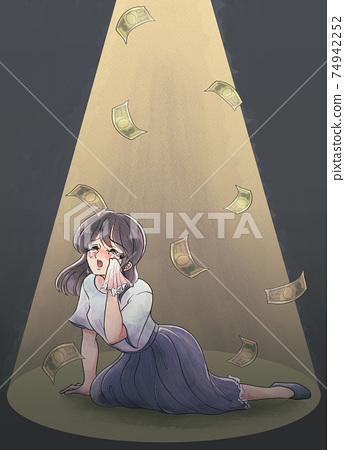 Retro girl cartoon style, money dances, tragic heroine, business casual, light up 74942252
