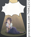 Retro girl cartoon style, tragic heroine, business casual, light-up, balloon 74942253