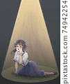 Retro girl cartoon style, tragic heroine, business casual, light up 74942254