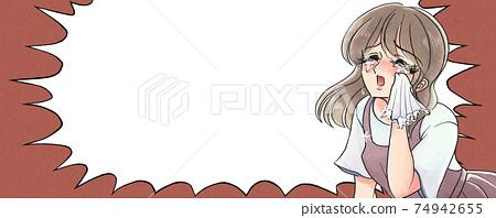 Retro shojo manga style, tragic heroine, housewife, nursery teacher, banner style 74942655