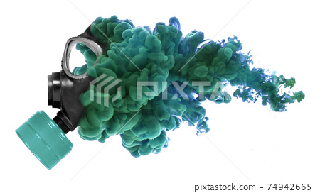 Vintage gasmask isolated with a trail of smoke 74942665