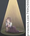 Retro girl cartoon style, tragic heroine, housewife, nursery teacher, light up 74942666