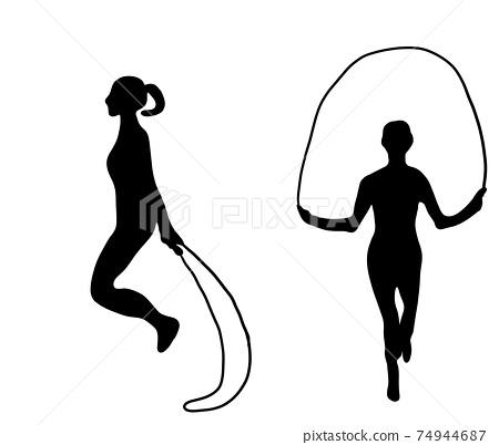 Fun jump rope silhouette 74944687