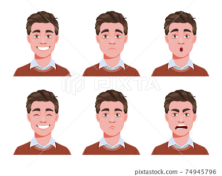 Different male emotions set. Young guy 74945796
