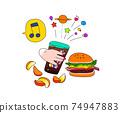 漢堡包,蘇打水和炸薯條食者的手的插圖 74947883