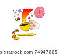 喝咖啡休息時間咖啡和餅乾的插圖 74947885