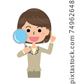 Woman examining with magnifying glass 74962648