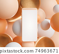 3d rendering blank screen smartphone on abstract spheres background. 74963671