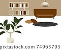 거실과 소파 관엽 식물 일러스트 74963793