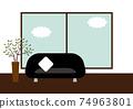 리빙 룸 소파 창문 일러스트 74963801