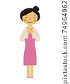 Material of the person. Image illustration of the party. Woman in formal dress. 74964962