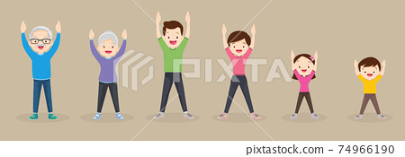 big family exercising together For Good Health 74966190