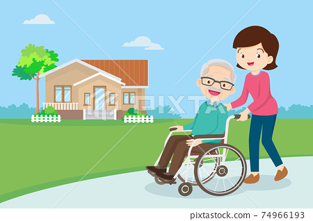 strolling with elderly man in wheelchair in the park 74966193