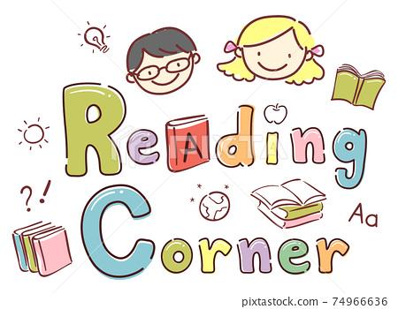 Stickman Kids School Reading Corner Illustration 74966636