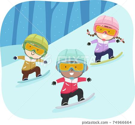 Kids Snowboarding Goggles Helmet Illustration 74966664