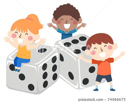 Kids Happy Dice Board Game Illustration 74966675