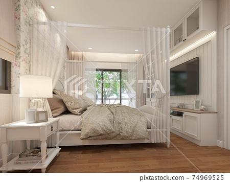 interior design of  bedroom,3d rendering 74969525