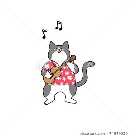 貓玩夏威夷四弦琴 74970339