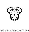 Vector of schnauzer dog head isolated on white background. Easy editable layered vector illustration. Animals. Pets. 74972159