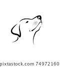 Vector of labrador dog head isolated on white background. Easy editable layered vector illustration. Animals. Pets. 74972160